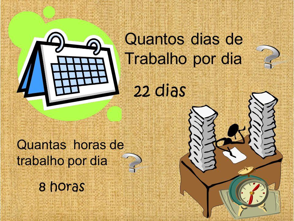 Quantos dias de Trabalho por dia 22 dias Quantas horas de trabalho por dia 8 horas