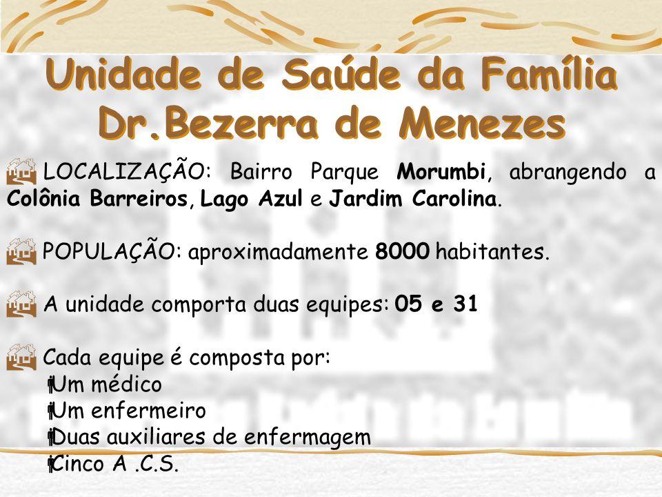 Unidade de Saúde da Família Dr.Bezerra de Menezes  LOCALIZAÇÃO: Bairro Parque Morumbi, abrangendo a Colônia Barreiros, Lago Azul e Jardim Carolina.