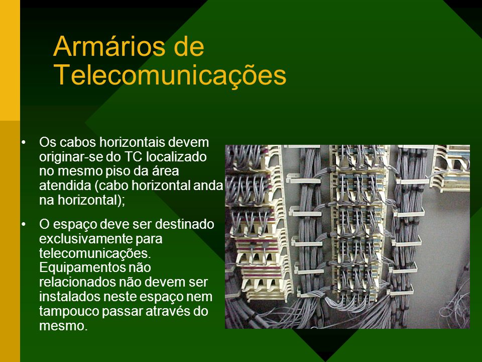 Armários de Telecomunicações Os cabos horizontais devem originar-se do TC localizado no mesmo piso da área atendida (cabo horizontal anda na horizontal); O espaço deve ser destinado exclusivamente para telecomunicações.