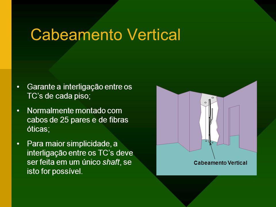 Cabeamento Vertical Garante a interligação entre os TC's de cada piso; Normalmente montado com cabos de 25 pares e de fibras óticas; Para maior simplicidade, a interligação entre os TC's deve ser feita em um único shaft, se isto for possível.