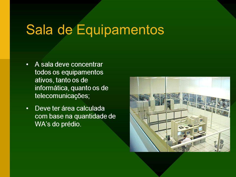 Sala de Equipamentos A sala deve concentrar todos os equipamentos ativos, tanto os de informática, quanto os de telecomunicações; Deve ter área calculada com base na quantidade de WA's do prédio.
