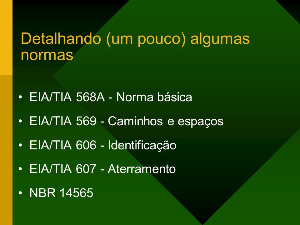 Detalhando (um pouco) algumas normas EIA/TIA 568A - Norma básica EIA/TIA 569 - Caminhos e espaços EIA/TIA 606 - Identificação EIA/TIA 607 - Aterramento NBR 14565