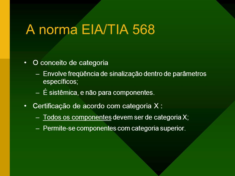 A norma EIA/TIA 568 O conceito de categoria –Envolve freqüência de sinalização dentro de parâmetros específicos; –É sistêmica, e não para componentes.