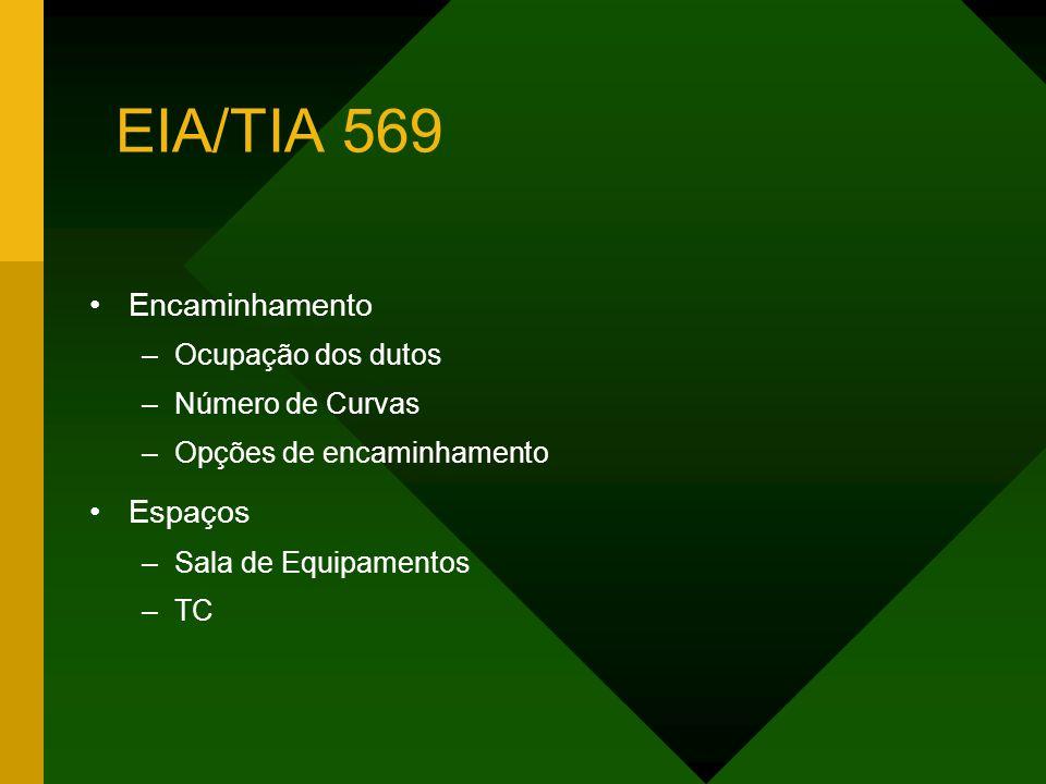 EIA/TIA 569 Encaminhamento –Ocupação dos dutos –Número de Curvas –Opções de encaminhamento Espaços –Sala de Equipamentos –TC