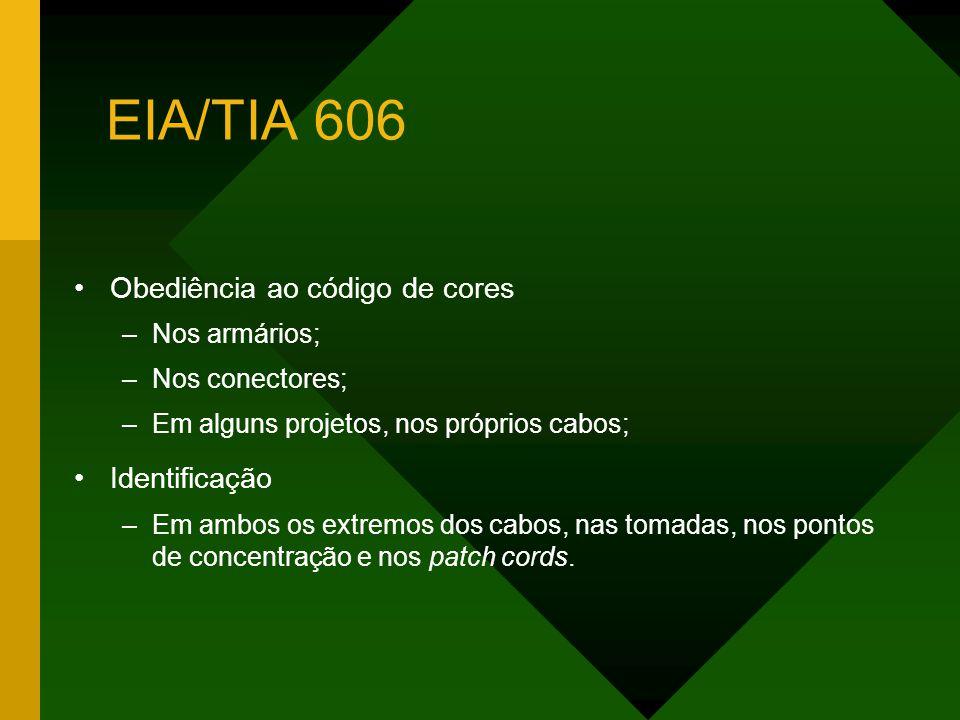 EIA/TIA 606 Obediência ao código de cores –Nos armários; –Nos conectores; –Em alguns projetos, nos próprios cabos; Identificação –Em ambos os extremos dos cabos, nas tomadas, nos pontos de concentração e nos patch cords.
