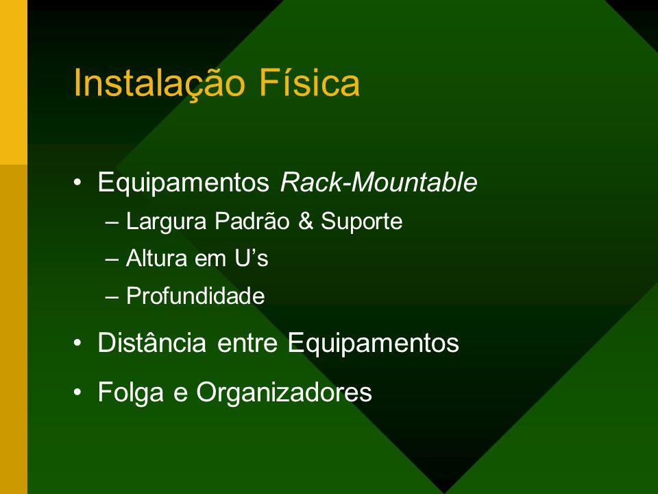 Instalação Física Equipamentos Rack-Mountable –Largura Padrão & Suporte –Altura em U's –Profundidade Distância entre Equipamentos Folga e Organizadores