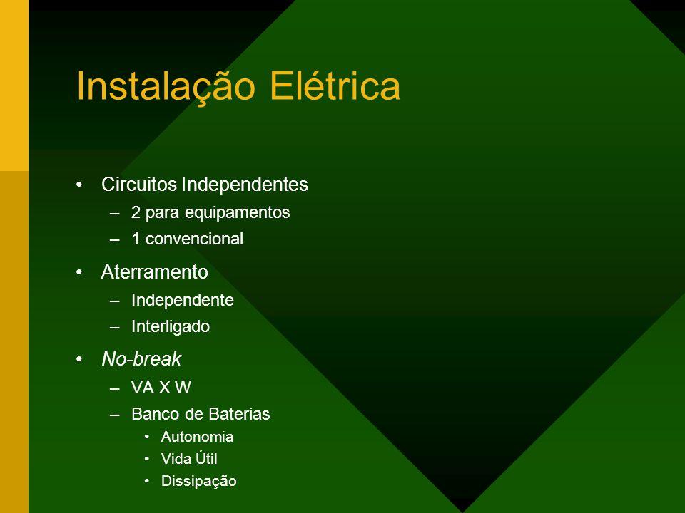 Instalação Elétrica Circuitos Independentes –2 para equipamentos –1 convencional Aterramento –Independente –Interligado No-break –VA X W –Banco de Baterias Autonomia Vida Útil Dissipação