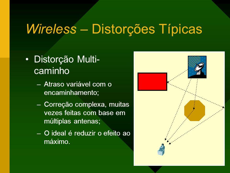 Wireless – Distorções Típicas Distorção Multi- caminho –Atraso variável com o encaminhamento; –Correção complexa, muitas vezes feitas com base em múltiplas antenas; –O ideal é reduzir o efeito ao máximo.