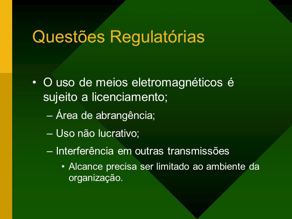 Questões Regulatórias O uso de meios eletromagnéticos é sujeito a licenciamento; –Área de abrangência; –Uso não lucrativo; –Interferência em outras transmissões Alcance precisa ser limitado ao ambiente da organização.