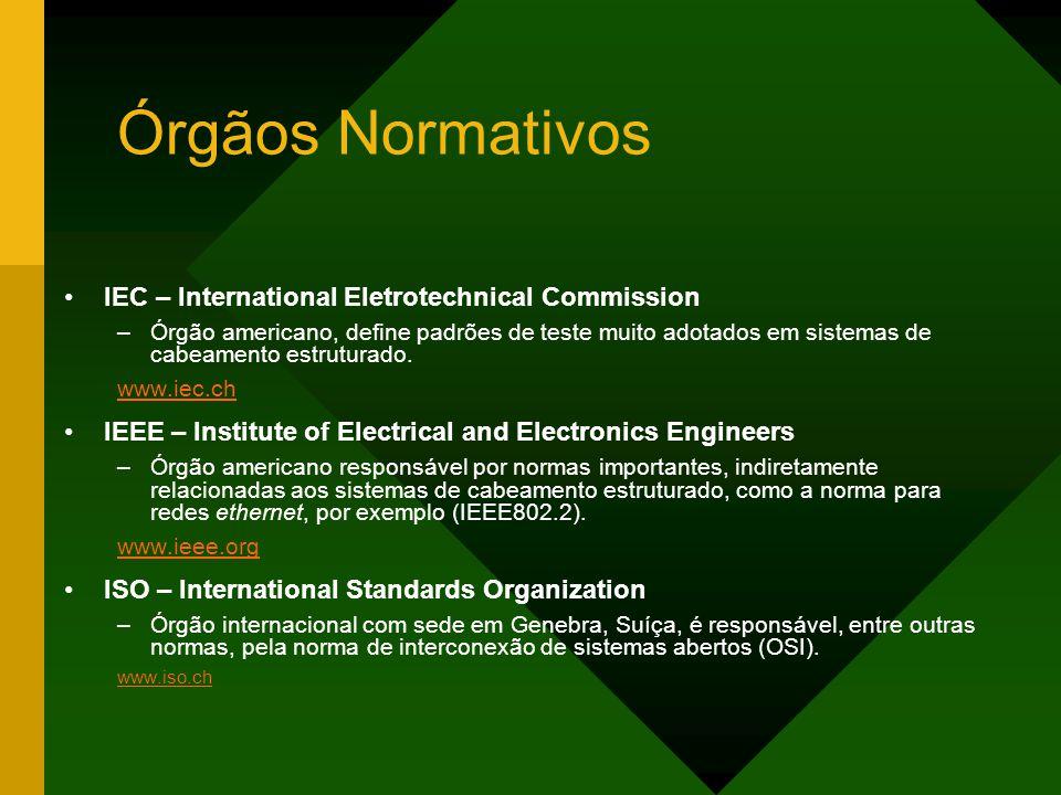 Órgãos Normativos IEC – International Eletrotechnical Commission –Órgão americano, define padrões de teste muito adotados em sistemas de cabeamento estruturado.