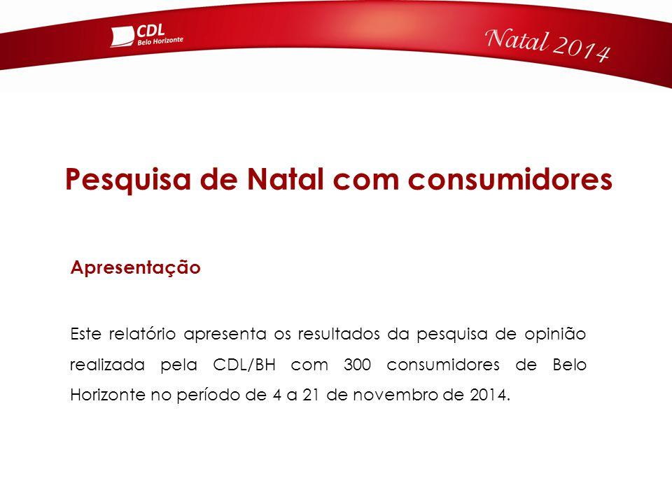 Pesquisa de Natal com consumidores Este relatório apresenta os resultados da pesquisa de opinião realizada pela CDL/BH com 300 consumidores de Belo Horizonte no período de 4 a 21 de novembro de 2014.