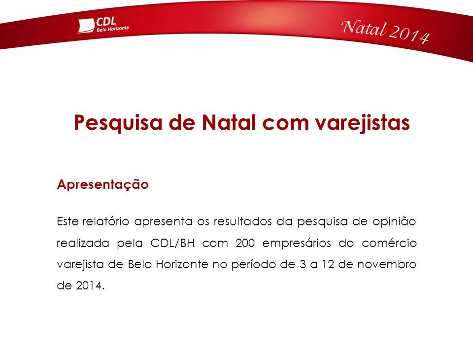 Pesquisa de Natal com varejistas Apresentação Este relatório apresenta os resultados da pesquisa de opinião realizada pela CDL/BH com 200 empresários do comércio varejista de Belo Horizonte no período de 3 a 12 de novembro de 2014.
