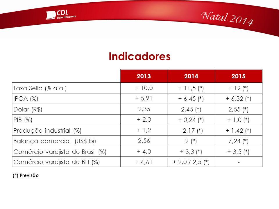 201320142015 Taxa Selic (% a.a.) + 10,0 + 11,5 (*)+ 12 (*) IPCA (%) + 5,91 + 6,45 (*)+ 6,32 (*) Dólar (R$) 2,35 2,45 (*)2,55 (*) PIB (%) + 2,3 + 0,24 (*)+ 1,0 (*) Produção industrial (%) + 1,2 - 2,17 (*)+ 1,42 (*) Balança comercial (US$ bi) 2,56 2 (*)7,24 (*) Comércio varejista do Brasil (%) + 4,3 + 3,3 (*)+ 3,5 (*) Comércio varejista de BH (%) + 4,61 + 2,0 / 2,5 (*)- Indicadores (*) Previsão