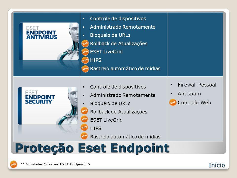 Proteção Eset Endpoint Controle de dispositivos Administrado Remotamente Bloqueio de URLs Rollback de Atualizações ESET LiveGrid HIPS Rastreio automático de mídias Firewall Pessoal Antispam Controle Web Início Controle de dispositivos Administrado Remotamente Bloqueio de URLs Rollback de Atualizações ESET LiveGrid HIPS Rastreio automático de mídias ** Novidades Soluções ESET Endpoint 5