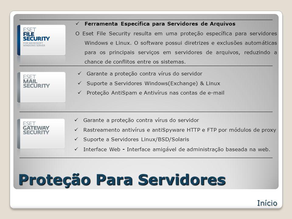Proteção Para Servidores Início Garante a proteção contra vírus do servidor Suporte a Servidores Windows(Exchange) & Linux Proteção AntiSpam e Antivírus nas contas de e-mail Ferramenta Específica para Servidores de Arquivos O Eset File Security resulta em uma proteção específica para servidores Windows e Linux.