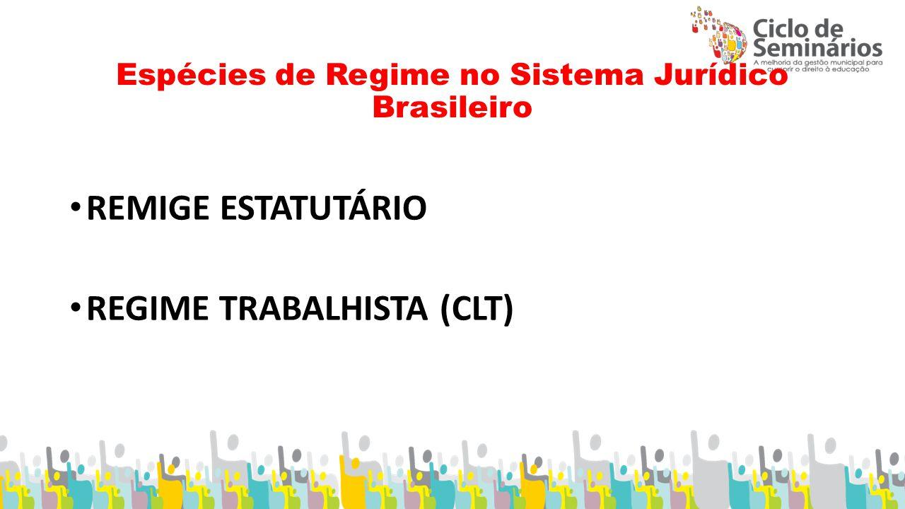 Espécies de Regime no Sistema Jurídico Brasileiro REMIGE ESTATUTÁRIO REGIME TRABALHISTA (CLT)