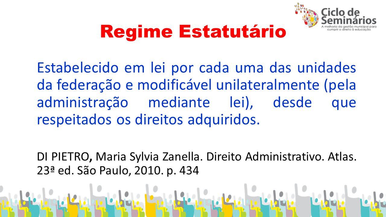 Regime Estatutário Estabelecido em lei por cada uma das unidades da federação e modificável unilateralmente (pela administração mediante lei), desde que respeitados os direitos adquiridos.