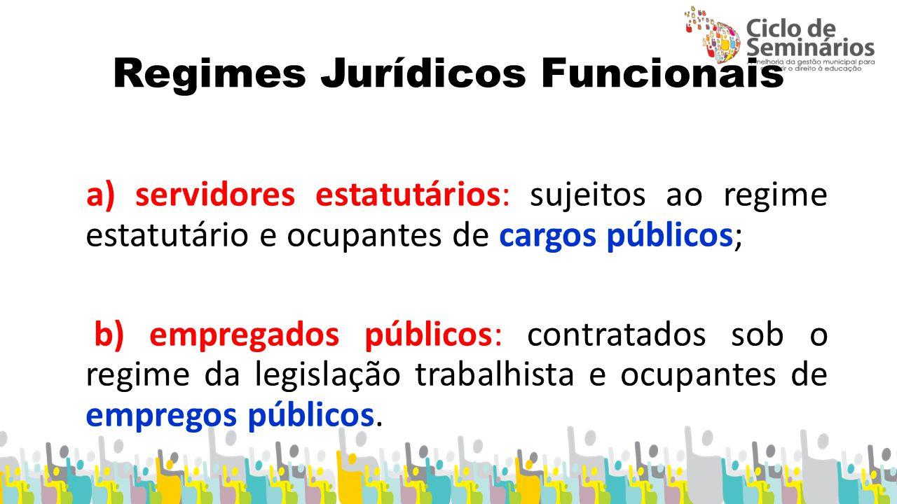 Regimes Jurídicos Funcionais a) servidores estatutários: sujeitos ao regime estatutário e ocupantes de cargos públicos; b) empregados públicos: contratados sob o regime da legislação trabalhista e ocupantes de empregos públicos.