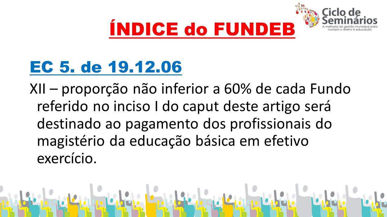 ÍNDICE do FUNDEB EC 5.