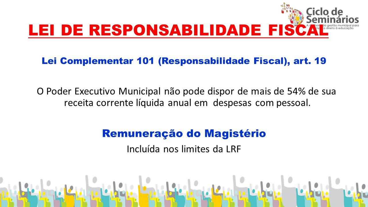LEI DE RESPONSABILIDADE FISCAL Lei Complementar 101 (Responsabilidade Fiscal), art.