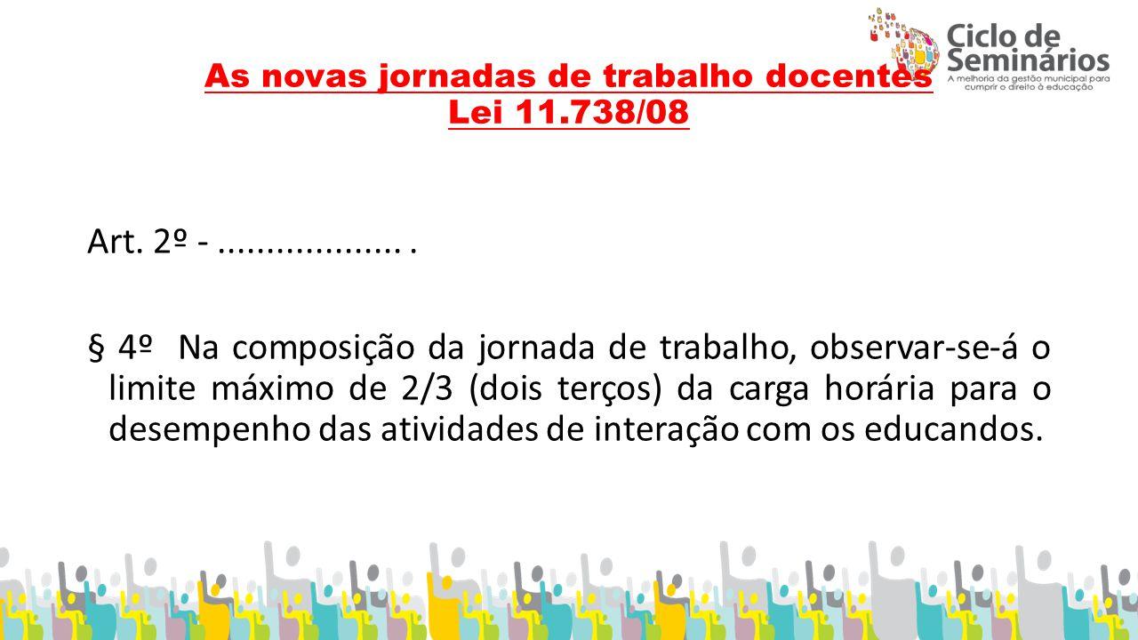 As novas jornadas de trabalho docentes Lei 11.738/08 Art.