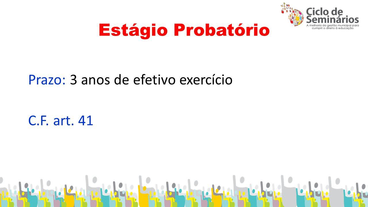 Estágio Probatório Prazo: 3 anos de efetivo exercício C.F. art. 41