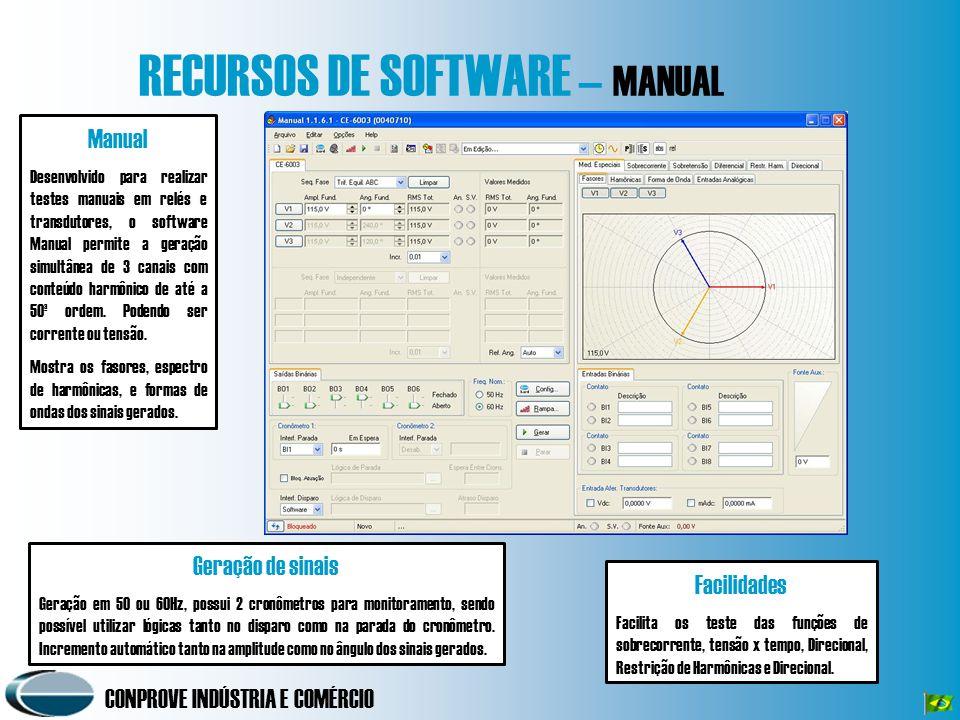 CONPROVE INDÚSTRIA E COMÉRCIO RECURSOS DE SOFTWARE – MANUAL Manual Desenvolvido para realizar testes manuais em relés e transdutores, o software Manua