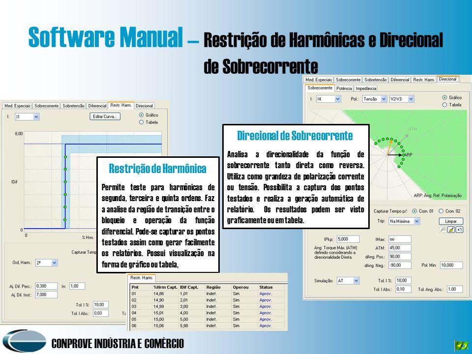 CONPROVE INDÚSTRIA E COMÉRCIO Software Manual – Restrição de Harmônicas e Direcional de Sobrecorrente Restrição de Harmônica Permite teste para harmônicas de segunda, terceira e quinta ordens.