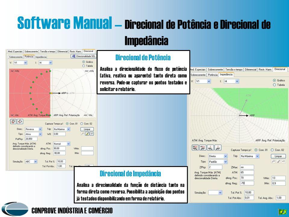 CONPROVE INDÚSTRIA E COMÉRCIO Software Manual – Direcional de Potência e Direcional de Impedância Direcional de Potência Analisa a direcionalidade do