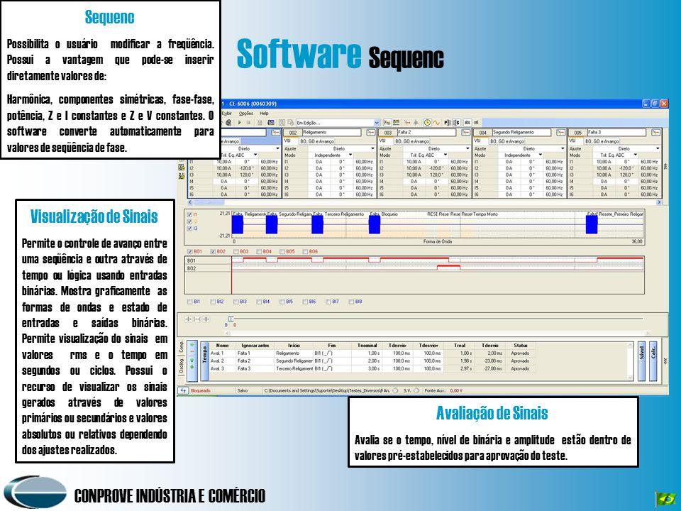 CONPROVE INDÚSTRIA E COMÉRCIO Software Sequenc Sequenc Possibilita o usuário modificar a freqüência. Possui a vantagem que pode-se inserir diretamente