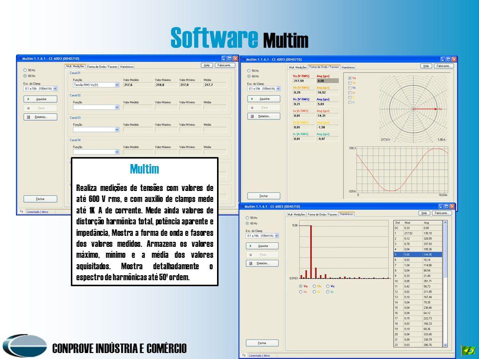 CONPROVE INDÚSTRIA E COMÉRCIO Software Multim Multim Realiza medições de tensões com valores de até 600 V rms, e com auxilio de clamps mede até 1K A de corrente.