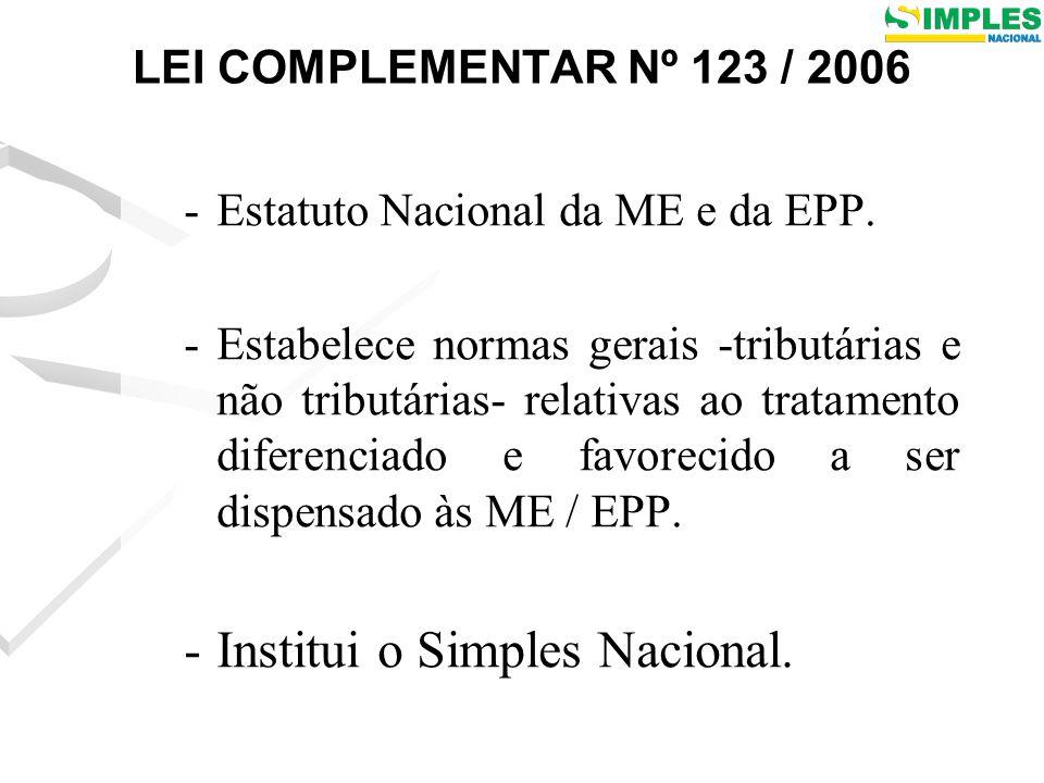 LEI COMPLEMENTAR Nº 123 / 2006 -Estatuto Nacional da ME e da EPP.