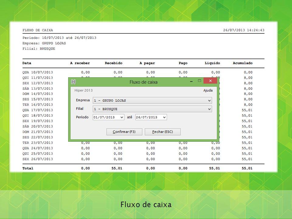 Lançamentos de caixa realizados automaticamente a partir das vendas, recebimentos e pagamentos