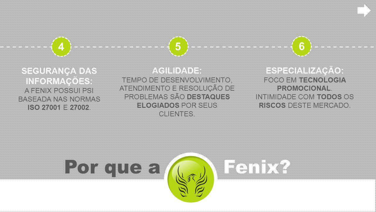 Por que a Fenix? SEGURANÇA DAS INFORMAÇÕES: A FENIX POSSUI PSI BASEADA NAS NORMAS ISO 27001 E 27002. AGILIDADE: TEMPO DE DESENVOLVIMENTO, ATENDIMENTO