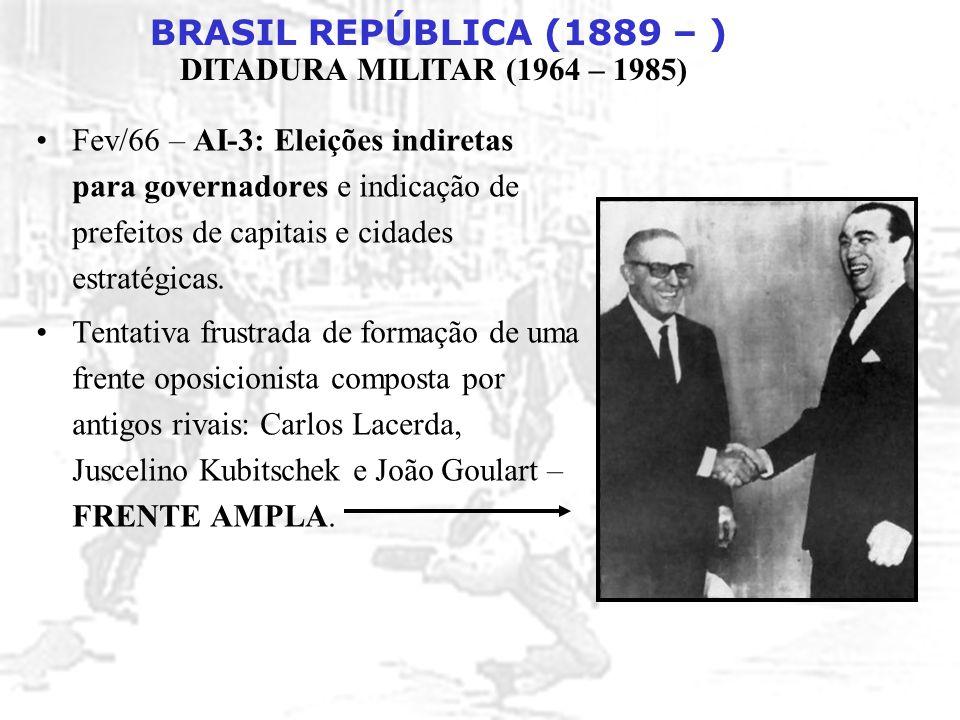 BRASIL REPÚBLICA (1889 – ) DITADURA MILITAR (1964 – 1985) Fev/66 – AI-3: Eleições indiretas para governadores e indicação de prefeitos de capitais e c