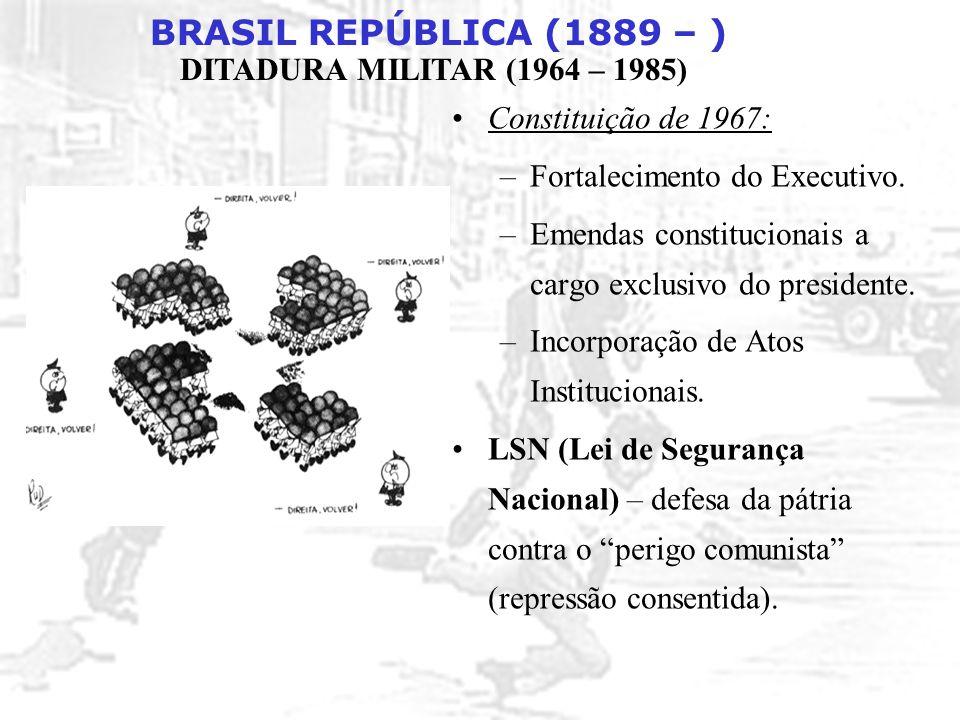 BRASIL REPÚBLICA (1889 – ) DITADURA MILITAR (1964 – 1985) Constituição de 1967: –Fortalecimento do Executivo. –Emendas constitucionais a cargo exclusi