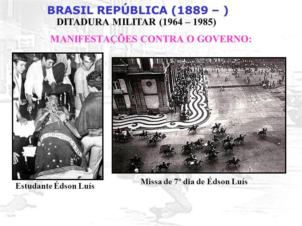 BRASIL REPÚBLICA (1889 – ) DITADURA MILITAR (1964 – 1985) MANIFESTAÇÕES CONTRA O GOVERNO: Estudante Édson Luís Missa de 7º dia de Édson Luís