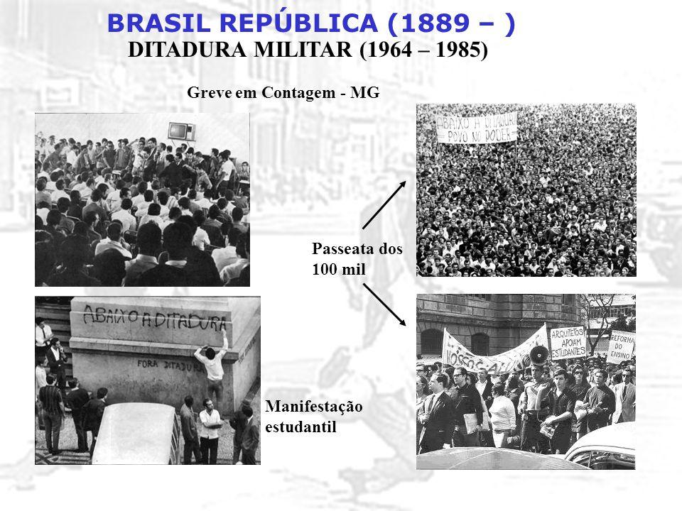 BRASIL REPÚBLICA (1889 – ) DITADURA MILITAR (1964 – 1985) Greve em Contagem - MG Passeata dos 100 mil Manifestação estudantil