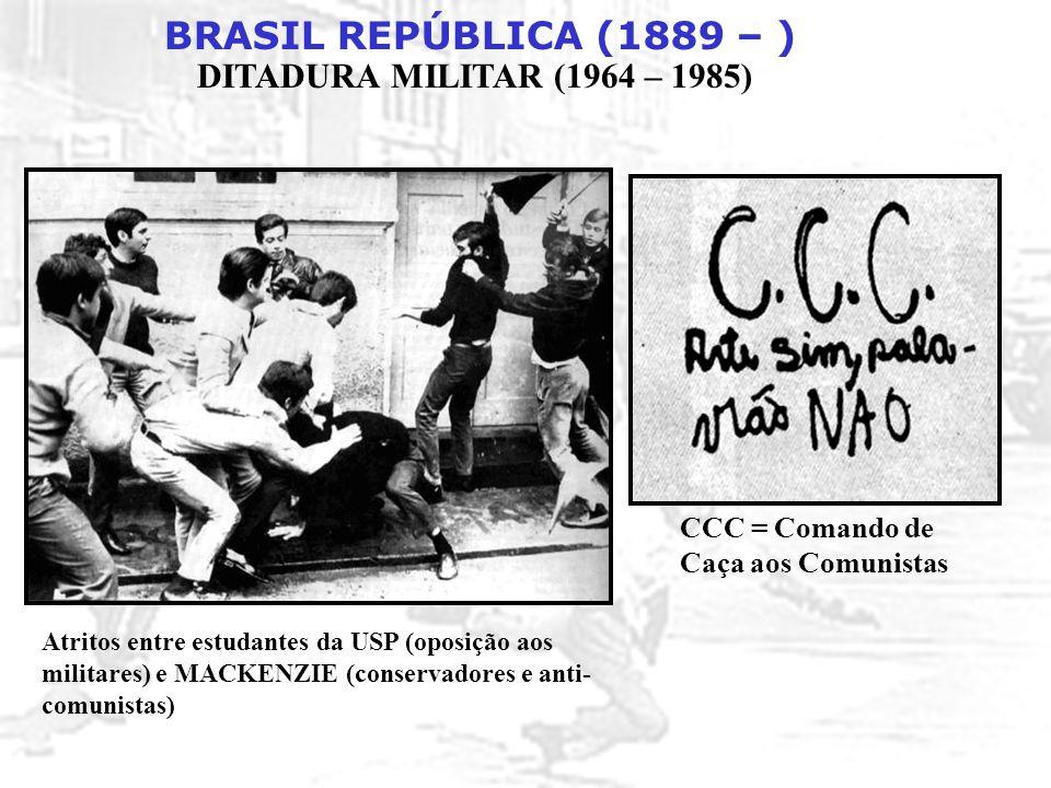 BRASIL REPÚBLICA (1889 – ) DITADURA MILITAR (1964 – 1985) Atritos entre estudantes da USP (oposição aos militares) e MACKENZIE (conservadores e anti-