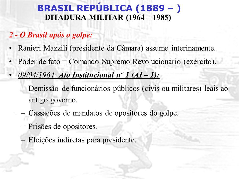 BRASIL REPÚBLICA (1889 – ) DITADURA MILITAR (1964 – 1985) CONSEQÜÊNCIAS DO MILAGRE : DÍVIDA EXTERNA DESVALORIZAÇÃO SALARIAL