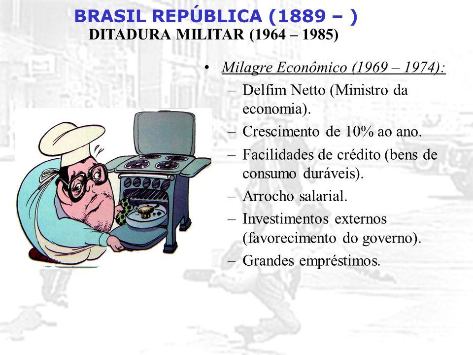 BRASIL REPÚBLICA (1889 – ) DITADURA MILITAR (1964 – 1985) Milagre Econômico (1969 – 1974): –Delfim Netto (Ministro da economia). –Crescimento de 10% a