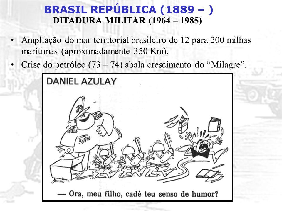 BRASIL REPÚBLICA (1889 – ) DITADURA MILITAR (1964 – 1985) Ampliação do mar territorial brasileiro de 12 para 200 milhas marítimas (aproximadamente 350