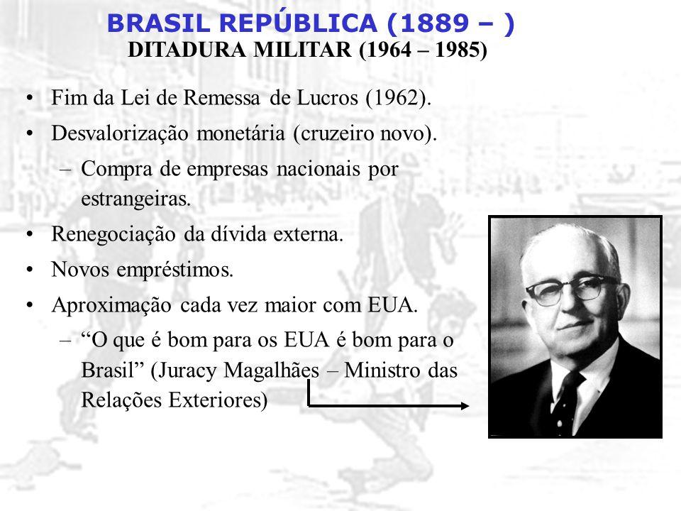 BRASIL REPÚBLICA (1889 – ) DITADURA MILITAR (1964 – 1985) 1982: Eleições diretas para governador (vitória de candidatos oposicionistas em 10 estados, incluindo SP, RJ e MG).