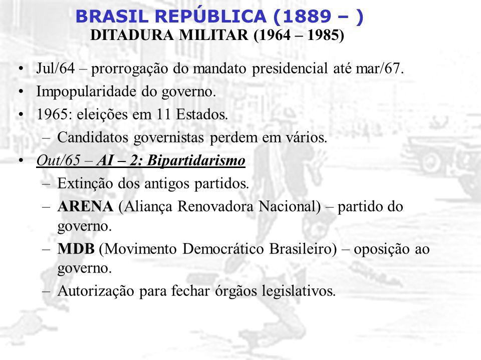 BRASIL REPÚBLICA (1889 – ) DITADURA MILITAR (1964 – 1985) Valorização de conquistas esportivas: futebol e automobilismo (associação de vitórias com o sucesso do governo).