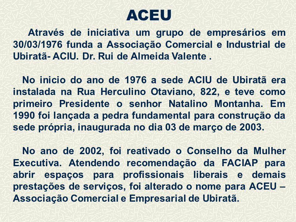 Através de iniciativa um grupo de empresários em 30/03/1976 funda a Associação Comercial e Industrial de Ubiratã- ACIU. Dr. Rui de Almeida Valente. No