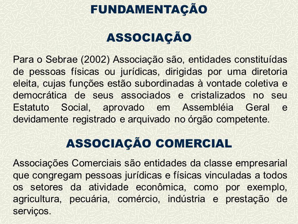ASSOCIAÇÃO Para o Sebrae (2002) Associação são, entidades constituídas de pessoas físicas ou jurídicas, dirigidas por uma diretoria eleita, cujas funç