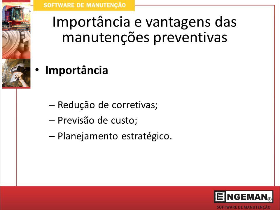 Importância – Redução de corretivas; – Previsão de custo; – Planejamento estratégico.