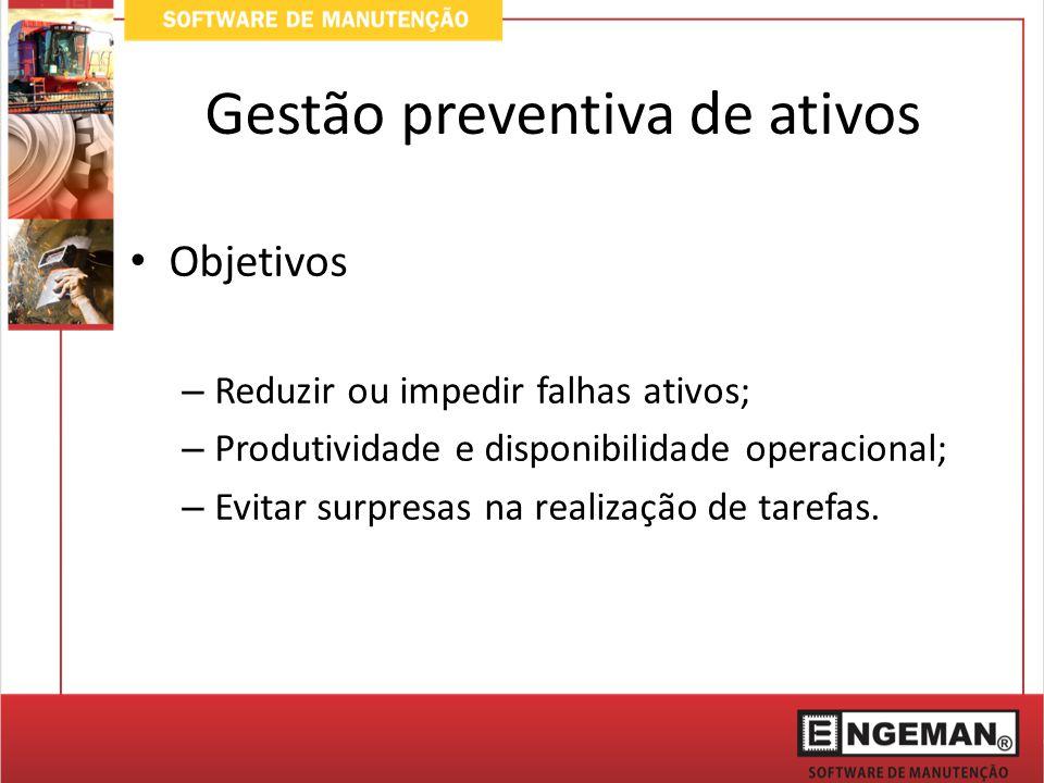 Gestão preventiva de ativos Objetivos – Reduzir ou impedir falhas ativos; – Produtividade e disponibilidade operacional; – Evitar surpresas na realização de tarefas.