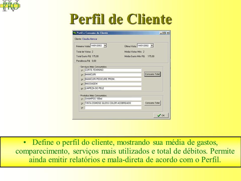 Agenda Controle automático de agendas dos profissionais, integrada com o módulo de clientes e serviços. A tecnologia e exclusividade da agenda permite