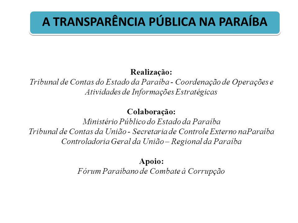 Realização: Tribunal de Contas do Estado da Paraíba - Coordenação de Operações e Atividades de Informações Estratégicas Colaboração: Ministério Públic